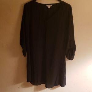 A black mid dress